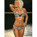 Black & White Striped Belted Bandeau Bikini