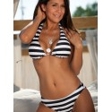 Black and White Striped Halter Low Rise Bikini