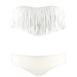 Tassel Bandeau Low Cut White