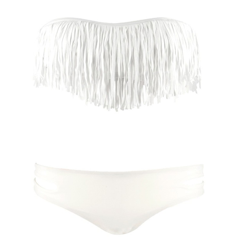Tassel Bandeau Low Cut Vit