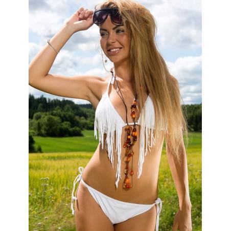 Fringe Scrunch Back Bikini White