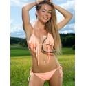 Fringe Triangle Scrunch Back Bikini Orange