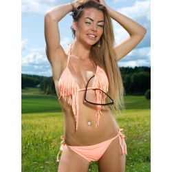 Fringe Triangle Scrunch Back Bikini Orange