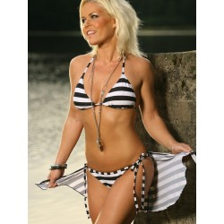 Black & White Striped Triangle Bikini