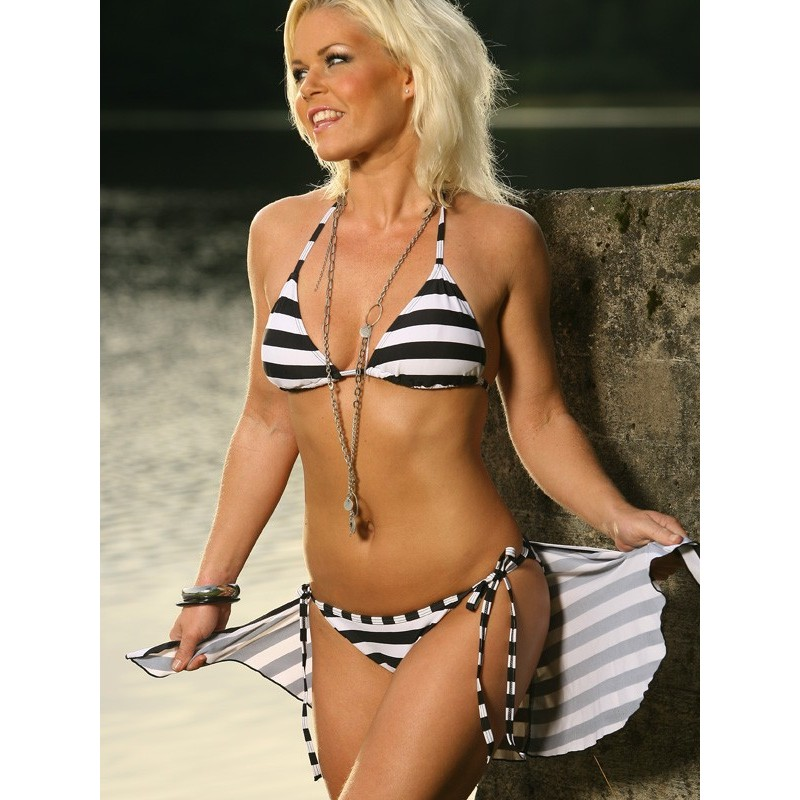 Svart & Vit Randig trekant bikini