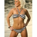 Black & White Striped Ring Bikini